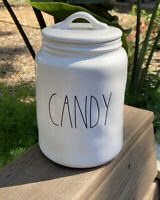 "New RAE DUNN Halloween LL ""CANDY"" 9.5"" Canister By Magenta"