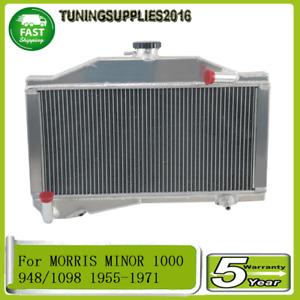 For Morris Minor 1000 948/1098 1955-1971 2Row Aluminium Radiator manual 56 57 58