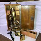 Antique M. Verick M. Stiassnie Brass Microscope with Storage Box, Paris
