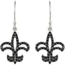Black Spinel Fleur-de-lis Earrings In Sterling Silver