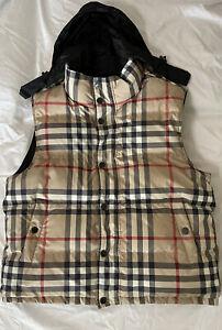 1,095$ Burberry Vest Mens Hooded XL Black , Original Plaid Reversible