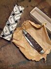 Vintage Queen City 4 1 2 Etched Jigged Bone Handle English Jack Pocket Knife