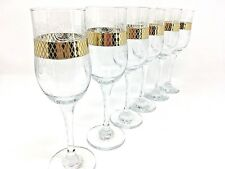 Crystal Glass Set of 6 Champagne Flute Wine  Glass 7 oz  Gold Design Russian Cut
