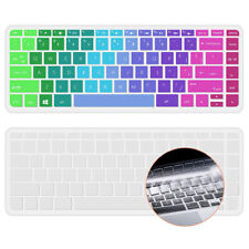 """Keyboard Cover Skin For HP 14"""" Laptop Rainbow and Clear 2 Pack"""