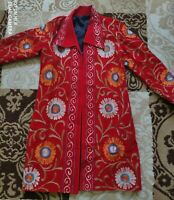 Uzbek handmade embroidery, women's silk suzani dress caftan, handmade, 0011