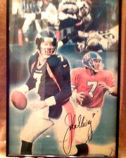 Hand Painted on Canvas John Elway #7 Autographed Denver Broncos Picture Framed