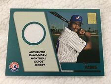 TIM RAINES INSERT AUTHENTIC GAME WORN JERSEY EXPOS TOPPS 2001 BASEBALL CARD