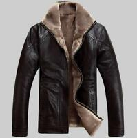 Mens Warm Sheepskin Leather Winter Fur Collar Jacket Thicken Snow Outwear Coats