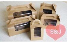 10x Brown Kraft Gable Cupcake Box Wedding Bomboniere Party Favour Holder Handle