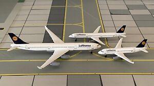 Trio Lufthansa Airbus A340-300 + A321 + A319 1:500 mit OVP Herpa Wings