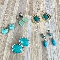 5 Pairs of Silver & Turquoise Drop Earrings