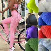 Womens Elastic Anti-Cellulite Yoga Pants Gym Sports Leggings Butt Lift Trousers