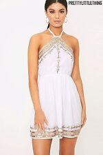 3c81f20dea0 Pretty Little Thing Embellished Swing Dress White Size UK 12 Lf077 II 01