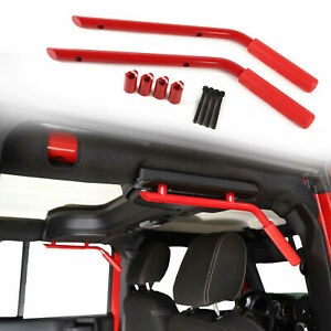 Red Rear Grab Handles Roll Bar Fit Jeep JK Wrangler & Unlimited 07+ Solid Steel