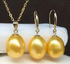 18K Solid Yellow Gold Sets Golden Drop South Sea Pearls Pendant Earring Necklace