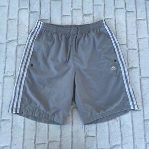 Adidas Men's Sports Shorts - Medium M Gym Training Sweat Running Grey 3 Stripes