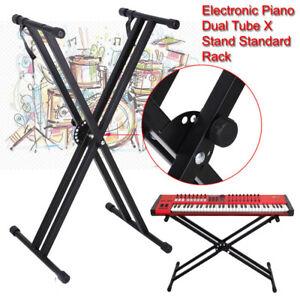 Electronic Piano Double Stand Music Keyboard Standard Rack Adjustables Metal UK