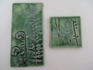 Robb Studio Pottery 2 Tiles / Plaques Green Signed Ceramic Art Ferns Dimensional