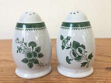 """Pair 2 Vintage Spode Gloucester Green White Egg Shaped Salt Spice Shakers 2.5"""""""