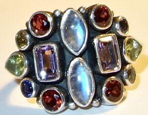 VINTAGE Designer Signed NICKY BUTLER Sterling Silver MULTIPLE STONE RING~SIZE 10