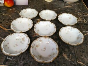 HAVILAND LIMOGES EIGHT fruit, berry ,Bowls Roses Double gold,