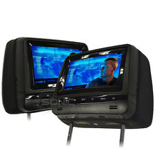 """Universel cuir-Style Noir 7"""" HD DVD/USB/SD Repose-tête écrans Mercedes/Audi/VW"""