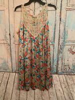 Vintage VASSARETTE Long Floral Silky Nylon NIGHTGOWN sz L Lingerie GOWN Medium