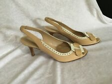 Vintage 80s via Condotti Italy Leather Peep Toe Sling Sandal Heels Shoes Sz 36
