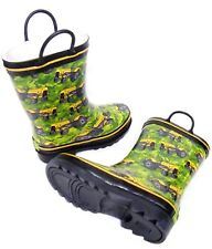 Kids Boys Green Yellow Tractor Wellington Wellies Boots Size 11/12