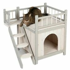 "Gato al Aire Libre Casa De Perro Para Mascota Kennel Interior Exterior De Madera Cubierta ""shelter"" escaleras"