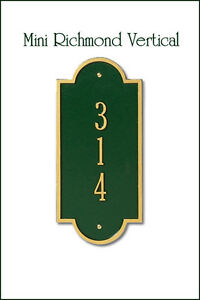 Whitehall Mini Richmond Mailbox Marker Sign Aluminum Plaque in 17 Color Choices