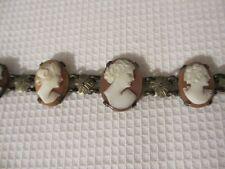 Antique Art Nouveau Deco 800 Silver Six Carved Shell Cameo Bracelet