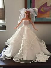 White huge flower patch lace wedding bridal debut prom evening doll gown dress