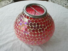 Hosley Red Mosaic Glass Tile Candle Holder Round With Party Lite Insert