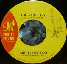"""*<* RONETTES' 2nd HIT! 1963 GIRL-GROUP CLASSIC """"BABY I LOVE YOU"""": M- vinyl 45!"""
