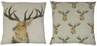 EVANS LICHFIELD STAG DEER REVERSIBLE LINEN BLEND MADE IN UK CUSHION COVER 17""