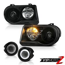 2005 2006 2007 Chrysler 300C 5.7L Matte Black Headlights Projector Euro Foglamp