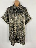 WOMENS PRETTY LITTLE THING BROWN & BLACK SNAKE PRINT OVERSIZED SHIRT DRESS UK 6