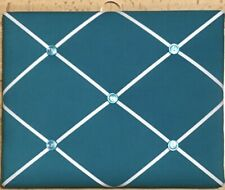 French Bulletin Board Photo Memo Board Turquoise w/ White Ribbon 8 x 10 inches