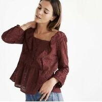NEW MADEWELL Blouse Long Sleeve Boho Peasant Top Maroon Ruffle Eyelet Size Small