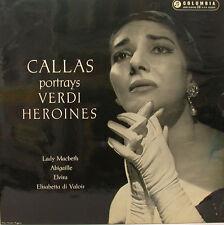 """MARIA CALLAS PORTRAYS VERDI HEROINES LADY MACBETH ABIGAILLE ELVIRA 12"""" LP (d759)"""