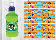 6 Pirate Personalised Fruit Shoot Bottle Wrappers Party Favour