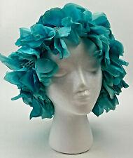 Vintage Turquoise Blues Crochet Ladies Mcm Hat Cap