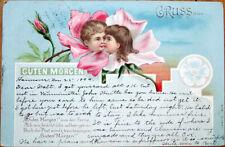 1899 Flower Face Postcard: Children Kissing - Flowerface, Color Litho