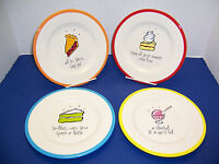 "Silvestri Max & Lucy 4 Whimsical Dessert Snack or Salad Plates 8"" Displayed Only"