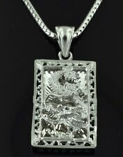 18K Solid White Gold  3-D Dragon pendant diamond cut  filigree 5.00 Grams