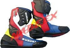GSXR Motorbike Leather Boots, Suzuki Motorbike/Motorcycle Leather Racing Boots