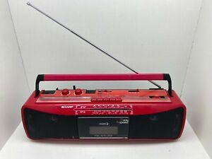 Sharp QT-250E R Portable Stereo Radio Cassette Tape Recorder Boombox Rare RED