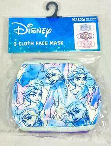 Disney Frozen Girls Kids 3 Pack Reusable Face Masks - Anna / Elsa  - Age 4 & Up