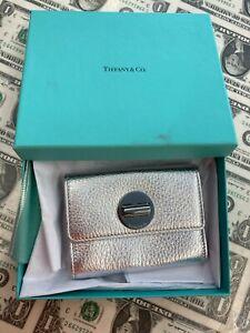 "Tiffany & Co Metallic Leather Silver Turn Lock Card Holder Wallet 3.25""x4.25"""